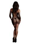 Mini robe manches longues résille et filet - Le Désir