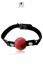 Gag Ball silicone - large : Bâillon cuir et silicone haute qualité, avec balle amovible de grande taille  de 5cm, par Spartacus.