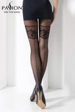 Collant TI026 Noir : Collant fantaisie noir 20 deniers, orné de motifs et d'une couture faits avec un fil guipé.