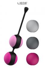 Kit d'entrainement pelvien Kewos - Noir/Cerise : Kit de 5 balles de Kegel avec poids interchangeables + programme d'entrainement pour muscler le plancher pelvien. couleurs Noir/Cerise.