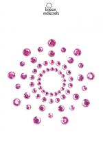 Bijoux de seins Mimi rose : Bijoux de corps en strass roses à poser en corole autour du mamelon pour un effet sexy garanti.