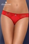 Culotte sexy Heartina - Culotte tanga rouge agrémentée d'un bijou en forme de cœur et d'un petit nœud sur le devant, par Obsessive.