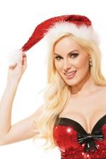 Bonnet de Noel sequins Santa : Bonnet de Noël surbrodé de sequins rouges brillants, avec bordure et pompon de douce fourrure blanche.