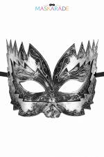Masque semi-rigide argenté Don Giovanni : Masque argenté semi rigide et haut pour jouer les Don Juan en toute discrétion, par Maskarade.