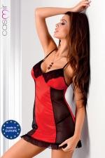 Robe lingerie Rio : Robe sexy fantaisie en satin extensible d'un rouge éclatant décoré de dentelle, avec de fines bretelles croisées qui offrent un magnifique effet décolleté dans le dos.
