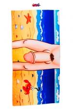 Serviette de bain Zizi : Serviette de bain humoristique et coquine avec impression sur une face de l'entre-jambes d'un homme particulièrement gâté par la nature.
