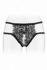 Culotte ouverte Emma - noir : Culotte coquine noire en fine dentelle et  bordures à cils, ouverte entre les cuisses, par Fashion Secret.