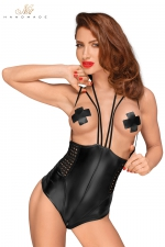 Body seins nus F179 - Body seins nus en wetlook avec zip dans le dos et à l'entre-jambes, et des bretelles fantaisie.