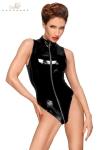 Body vinyle avec zip intégral F191 - Body sans manches en vinyle avec triple zip intégral.