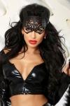 Kitty - masque de chat faux cuir - Masque de chat en faux cuir ciselé qui donne du mystère au regard.