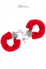 Menottes de poignets rouge : Paire de menottes Glamour en métal, recouvertes d'une fourrure rouge, par Sweet Caress.