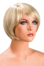 Perruque Mia blonde : Perruque blonde aux cheveux courts en carré avec mèche ayant un aspect actuel.