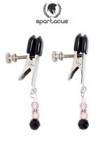 Pinces à seins Pink Beaded : Des pendentifs de perles roses au bout de pinces à tétons alligator ajustables, des bijoux qui feront palpiter vos seins.
