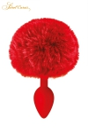 Plug queue de lapin - rouge - Un plug anal élégant et original avec son pompon rouge en fourrure synthétique fixé à son extrémité.