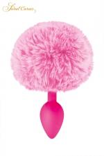 Plug queue de lapin - rose : Un plug anal élégant et original avec son pompon rose en fourrure synthétique fixé à son extrémité.