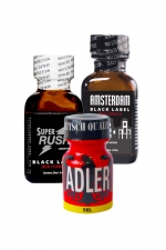 Pack Expert 3 poppers : Pack Expert de 3 poppers au pentyle:  Adler 9ml, Amsterdam Black Label 24ml et Super Rush Black Label 24ml.