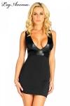 Robe Amy - Robe courte sans manches au magnifique décolleté en V mis en valeur par le tissus noir lamé.