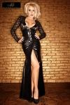 Robe longue Lady - Une robe longue magnifique et sophistiquée en dentelle et wetlook au noir intense.
