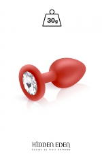 Plug bijou silicone rouge S - Hidden Eden : Plug anal en silicone rouge d'une longueur de 7,2 cm et d'un diamètre moyen de 2,7 cm. Décoré d'un strass rond transparent.