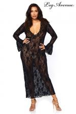 Robe longue stretch Queen Deep-V : Robe longue dentelle queen size, elle met en valeur vos rondeurs.